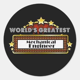 World's Greatest Mechanical Engineer Round Sticker