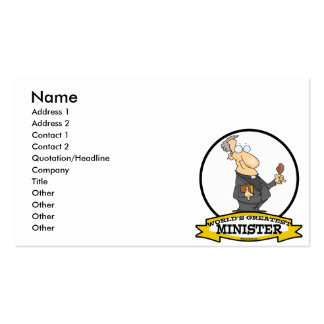 WORLDS GREATEST MINISTER CARTOON PACK OF STANDARD BUSINESS CARDS