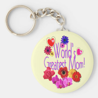 World's Greatest Mom! Basic Round Button Key Ring