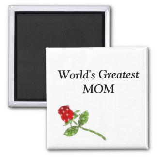 World's Greatest MOM rose Square Magnet