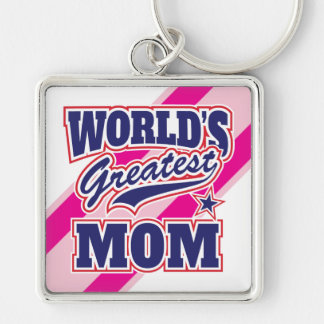 World's Greatest Mom Silver-Colored Square Key Ring