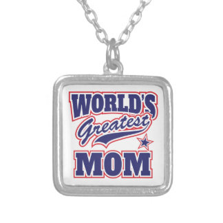 World's Greatest Mom Square Pendant Necklace