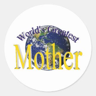 World's Greatest Mother Round Sticker