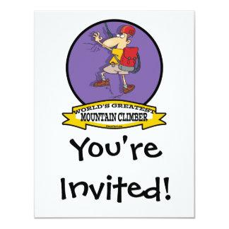 WORLDS GREATEST MOUNTAIN CLIMBER CARTOON 11 CM X 14 CM INVITATION CARD