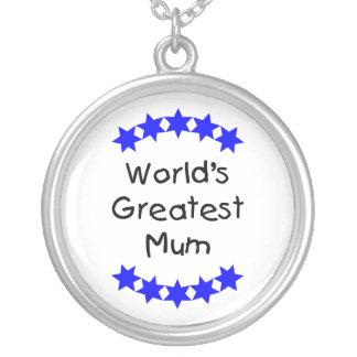 World's Greatest Mum (blue stars) Round Pendant Necklace