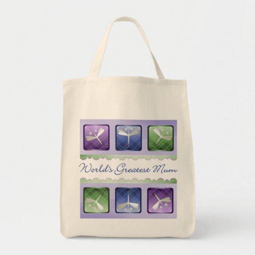 World's Greatest Mum (dragonflies) Tote Bag