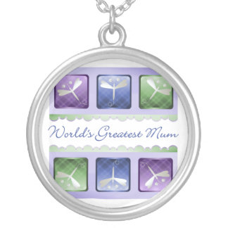 World's Greatest Mum (dragonflies) Round Pendant Necklace
