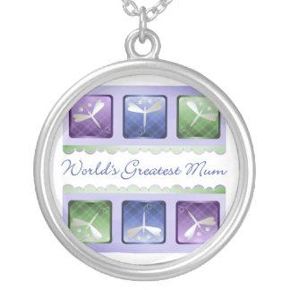 World's Greatest Mum (dragonflies) Round Pendant Necklace