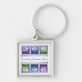 World's Greatest Mum (dragonflies) Silver-Colored Square Key Ring