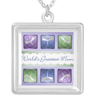 World's Greatest Mum (dragonflies) Square Pendant Necklace