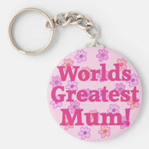 Worlds Greatest Mum Flower Design Keychain