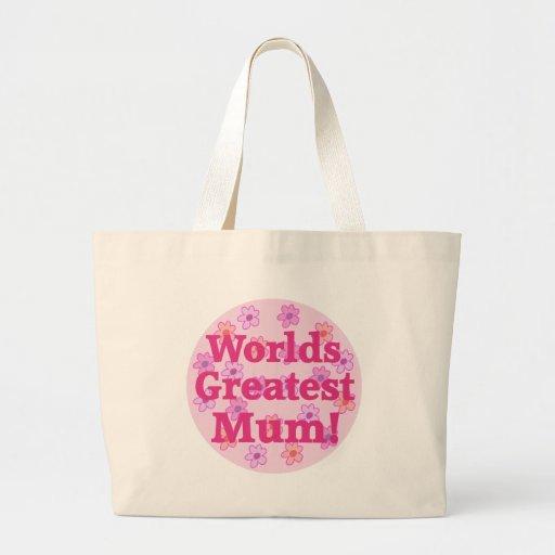 Worlds Greatest Mum Flower Design Tote Bag
