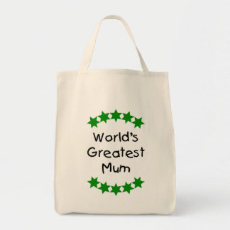 World's Greatest Mum (green stars) Grocery Tote Bag