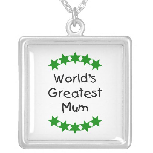 World's Greatest Mum (green stars) Personalized Necklace