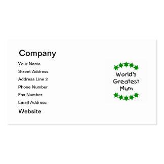 World's Greatest Mum (green stars) Pack Of Standard Business Cards
