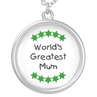 World's Greatest Mum (green stars) Round Pendant Necklace