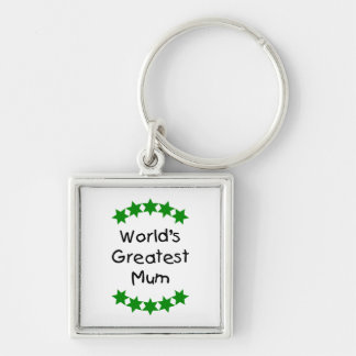 World's Greatest Mum (green stars) Silver-Colored Square Key Ring