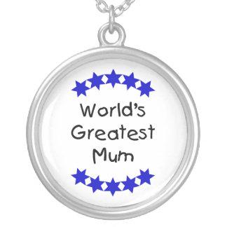 World's Greatest Mum (navy stars) Round Pendant Necklace