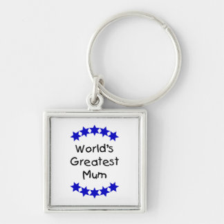 World's Greatest Mum (navy stars) Silver-Colored Square Key Ring
