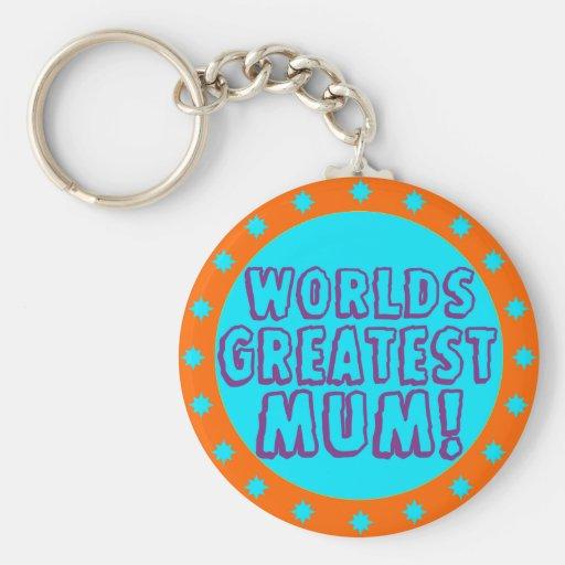 Worlds Greatest Mum Orange & Blue Keychain