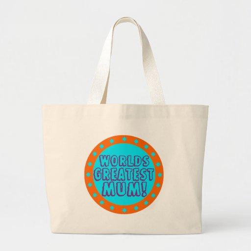 Worlds Greatest Mum Orange & Blue Tote Bag