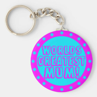 Worlds Greatest Mum Pink & Blue Keychain