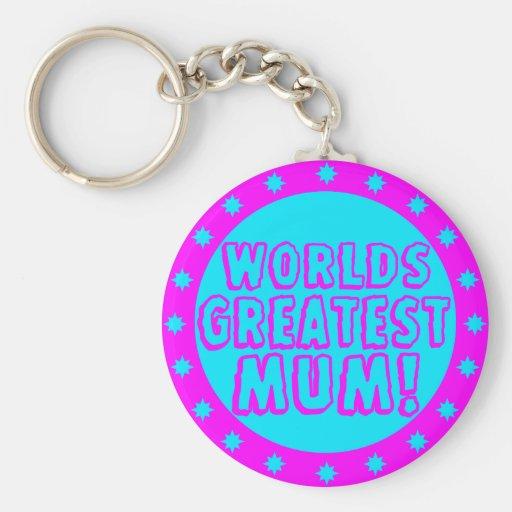 Worlds Greatest Mum Pink & Blue Keychain