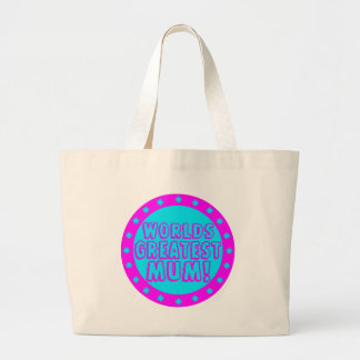 Worlds Greatest Mum Pink & Blue Tote Bag