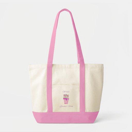 World's Greatest Mum (pink flowers) Bags