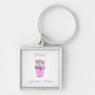 World's Greatest Mum (pink flowers) Key Chain