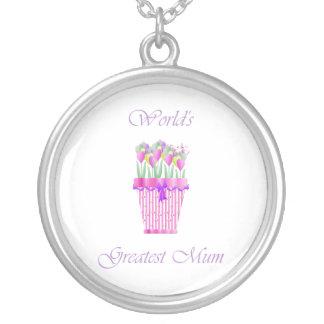 World's Greatest Mum (pink flowers) Round Pendant Necklace
