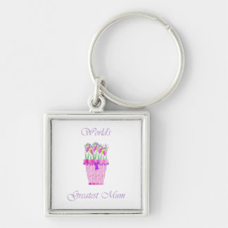 World's Greatest Mum (pink flowers) Silver-Colored Square Key Ring