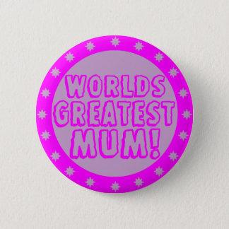 Worlds Greatest Mum Pink & Purple Button Badge