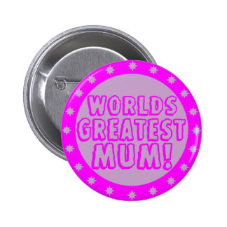Worlds Greatest Mum Pink & Purple Button Badge