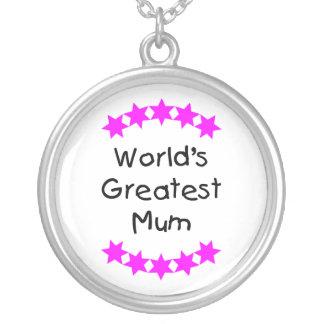 World's Greatest Mum (pink stars) Round Pendant Necklace
