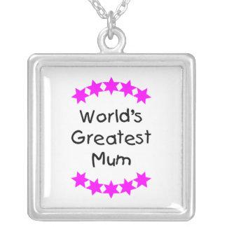 World's Greatest Mum (pink stars) Square Pendant Necklace