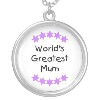 World's Greatest Mum (purple stars) Round Pendant Necklace