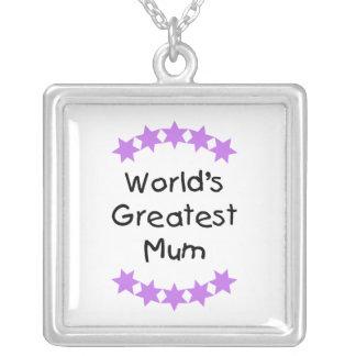World's Greatest Mum (purple stars) Square Pendant Necklace