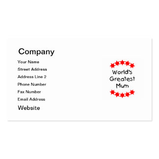 World's Greatest Mum (red stars) Pack Of Standard Business Cards