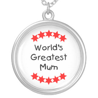 World's Greatest Mum (red stars) Round Pendant Necklace