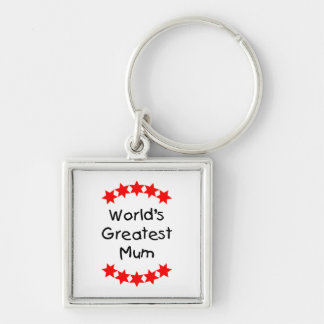 World's Greatest Mum (red stars) Silver-Colored Square Key Ring