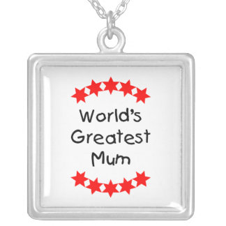 World's Greatest Mum (red stars) Square Pendant Necklace