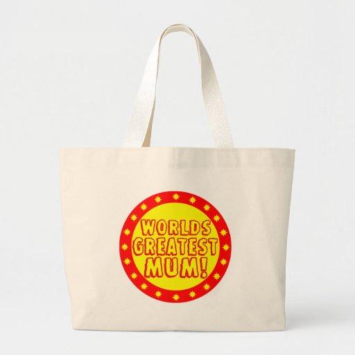 Worlds Greatest Mum Red & Yellow Tote Bag