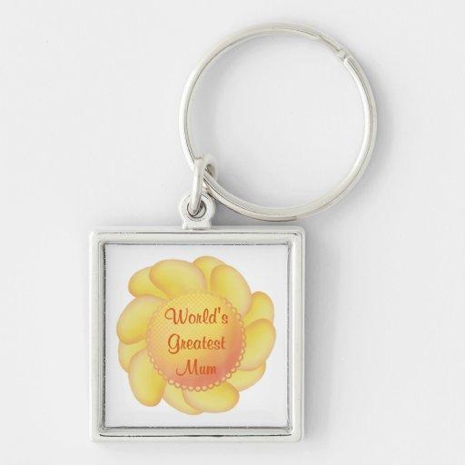 World's Greatest Mum (yellow flower) Keychains