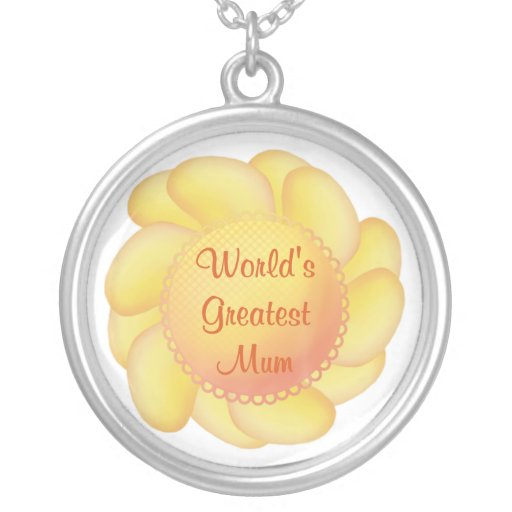 World's Greatest Mum (yellow flower) Necklaces