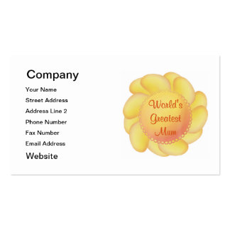 World's Greatest Mum (yellow flower) Pack Of Standard Business Cards