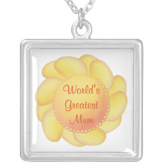 World's Greatest Mum (yellow flower) Square Pendant Necklace