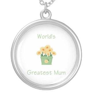 World's Greatest Mum (yellow flowers) Round Pendant Necklace