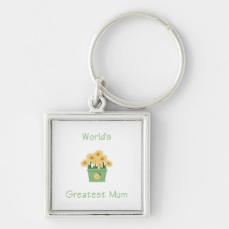 World's Greatest Mum (yellow flowers) Silver-Colored Square Key Ring