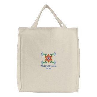 World's Greatest Nana embroidered canvas tote bag